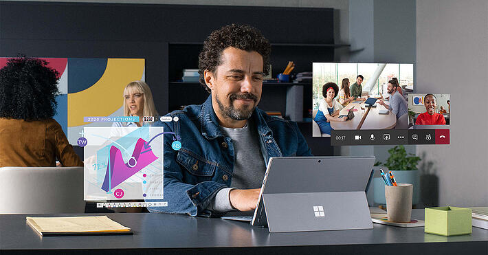 Man using Microsoft Teams video conferencing
